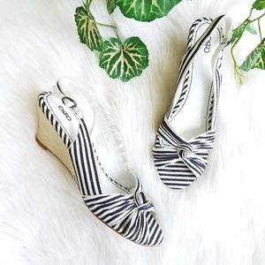 Cato Striped Open Toe Slingback Espadrilles Wedges